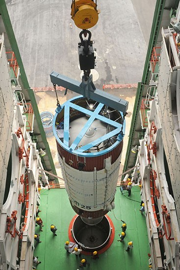 10 Hoisting of Second Stage of PSLV-C25 in Mobile Service Tower