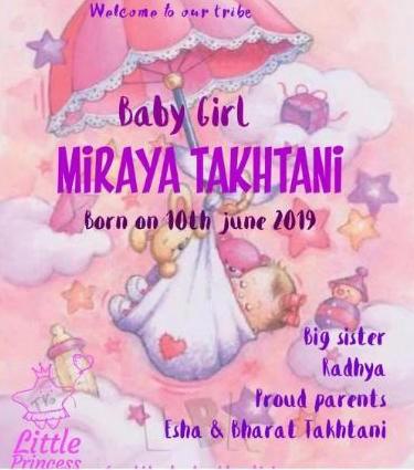 Esha Deol baby girl Miraya birth announcement