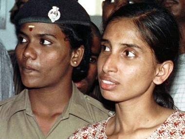 Nalini (R), one of the accused in the Rajiv Gandhi assassination case, seen in a court in this file photo. Reuters.