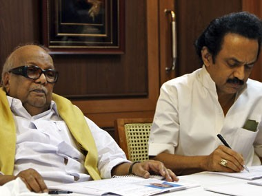 M Karunanidhi and MK Stalin