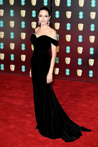 Angelina Jolie,Jennifer Lawrence,Angelina Jolie in Black dress,Jennifer Lawrence in black dress,Jennifer Lawrence at BAFTA 2018,Angelina Jolie at BAFTA 2018,BAFTA 2018,celebs at BAFTA 2018