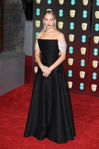 Angelina Jolie,Jennifer Lawrence,Angelina Jolie in Black dress,Jennifer Lawrence in black dress,Jennifer Lawrence at BAFTA 2018,Angelina Jolie at BAFTA 2018,BAFTA 2018,celebs at BAFTA 2018