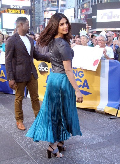 Priyanka Chopra,Priyanka Chopra on Good Morning America,Good Morning America,Priyanka Chopra on the sets of Good Morning America,Priyanka Chopra in metallic blue dress,Priyanka Chopra at Galvan London,Priyanka Chopra latest pics,Priyanka Chopra latest ima