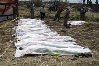 Bodies of the seven who died during the tragic bus accident in Karnataka