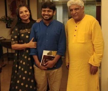 Shabana Azmi with Kanhaiya Kumar and Javed Akhtar
