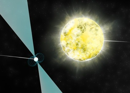 Artist impression of a white dwarf star in orbit with pulsar PSR J2222-0137. It may be the coolest and dimmest white dwarf ever identified. [B. Saxton (NRAO/AUI/NSF)]