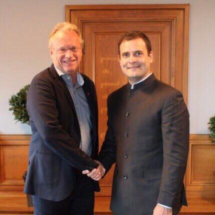 Rahul meets Oslo Mayor,Oslo Mayor Raymond Johansen,Raymond Johansen,Congress Vice President Rahul Gandhi,Rahul Gandhi