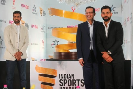 Virat Kohli and Sanjiv Goenka,Virat Kohli,Sanjiv Goenka,The RP-SG Indian Sports Honours,RP-Sanjiv Goenka,skipper Virat Kohli