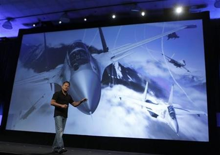 NVIDIA President and CEO Jen-Hsun Huang gives a demonstration during his keynote address at the GPU Technology Conference in San Jose