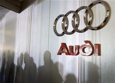Audi logo sign is seen inside the lobby at the U.S. headquarters building of the Volkswagen Group of America in Herndon, Virginia, September 18, 2008.