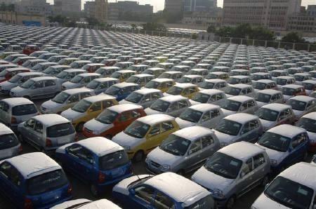 Hyundai cars are seen ready for shipment at a port in Chennai