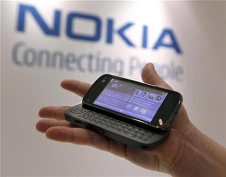 A Nokia N97 is demonstrated at the Nokia Capital Markets Day in New York