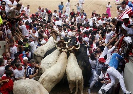Dozens got stuck in a stampede at Pamplona, Spain during the San Fermin run