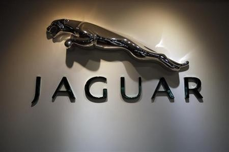 The Jaguar logo is pictured at a Jaguar Land Rover showroom in Mumbai February 13, 2013.