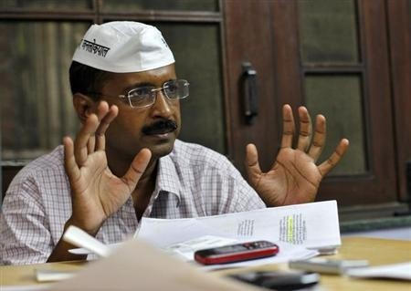 Arvind Kejriwal, a former Delhi CM, AAP Convener, a social activist and anti-corruption campaigner, gestures as he speaks during an interview with Reuters in Ghaziabad on the outskirts of New Delhi October 22, 2012.