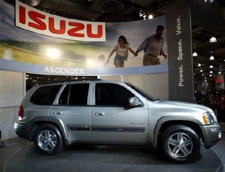 The 2004 five-passenger version of the Isuzu Ascender is on display at the 2003 New York International Auto Show