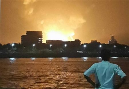 A man watches Indian Navy submarine INS Sindhurakshak on fire in Mumbai late August 13, 2013 (Representational picture) The INS Kolkata in which the gas leak took place on Friday is the lead ship of the Kolkata-class guided missile destroyers
