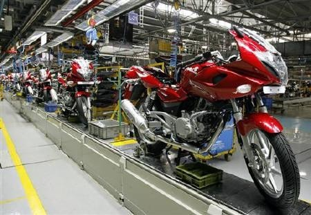 Newly built motorbikes are seen at the Bajaj Auto Ltd. plant in Pune, about 130 km (82 miles) from Mumbai