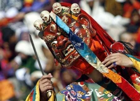 A Bhutanese dancer takes part in the annual Tsechu festival in Thimphu.