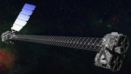 An artist's concept of the Nuclear Spectroscopic Telescope Array (NuSTAR) observatory on orbit illustrates NuSTAR's 10-m (30') mast that deploys after launch to separate the optics modules.
