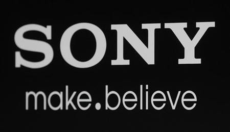The Sony logo and slogan are pictured on a backdrop at a special screening of the new film ''Colombiana'' in Los Angeles, California