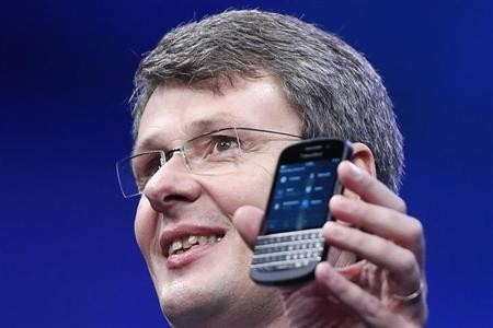 Research in Motion (RIM) President and Chief Executive Officer Thorsten Heins introduces a new RIM Blackberry 10 device during their launch in New York January 30, 2013