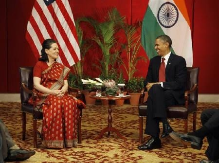 Sonia Gandhi with Barack Obama