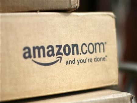 A box from Amazon.com is pictured on the porch of a house in Golden, Colorado.