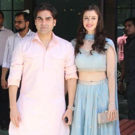 Arbaaz Khan and girlfriend Giorgia Andriani attend puja at Arpita Khan Sharma's home