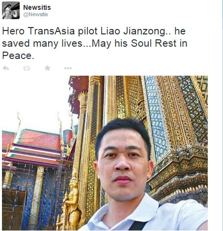 Many on social media praised the brave TransAsia Pilot.