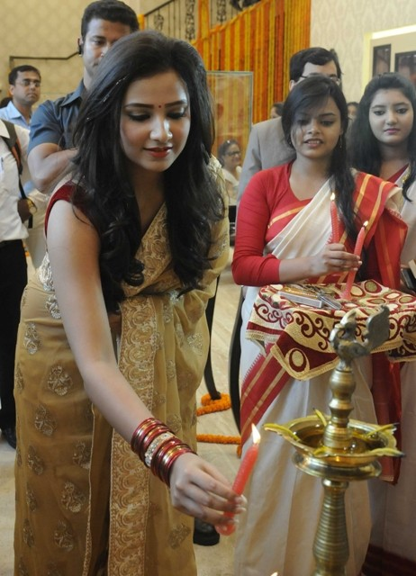 Actress Subhasree Ganguly at the launch of a jewellery showroom in Kolkata on 13 May 2015.