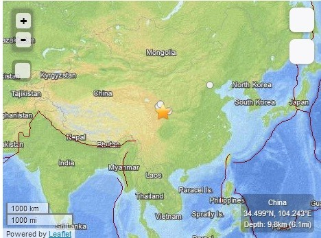 Twin earthquakes hit China (Image Credit: USGS)