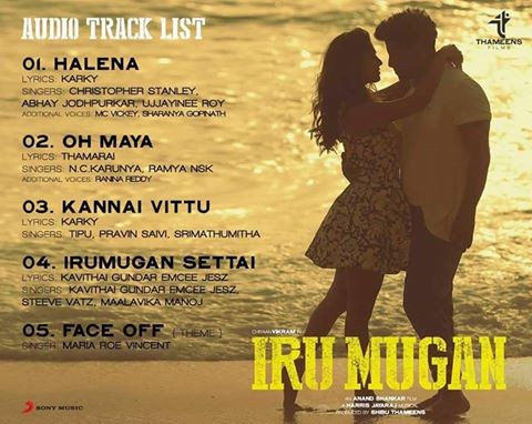 Iru Mugan,Iru Mugan songs list,Iru Mugan songs,Iru Mugan music,Iru Mugan track list,Vikram,Nayantara,Nithya Menen,Tamil movie Iru Mugan