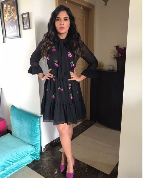 761980e4f6e67 Richa Chadha is wearing a cute cherry print black dress by Kate Spade and  teamed it up with sexy pink pumps by Zara.