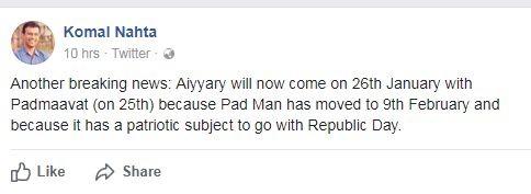 Screenshot of Komal Nahta post