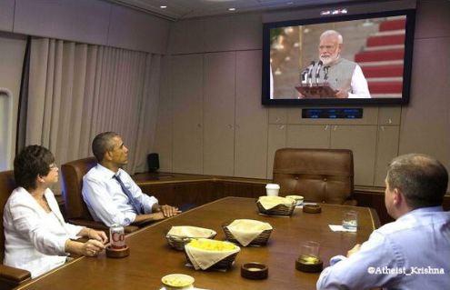 Obama watching Modi's swearing-in