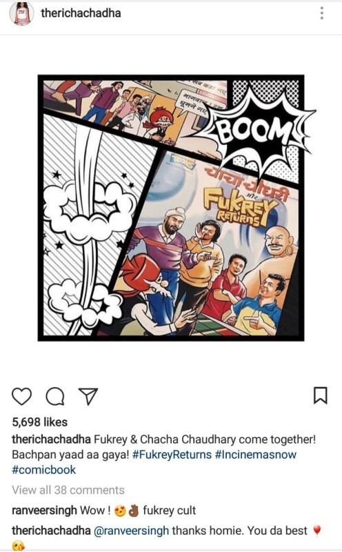 Ranveer Singh gives a thumbs up to Fukrey Returns comics