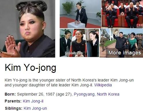 Google's search entry for Kim Jong-un's sister Kim Yo-jong, presented a hilarious photo-shopped image of the North Korean leader.