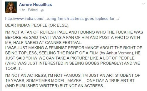 Aurore Nouailhas Facebook post against Rupesh Paul