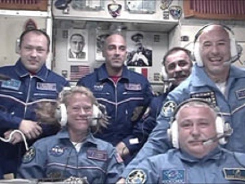 The newly arrived flight engineers and their Expedition 36 crewmates aboard the International Space Station