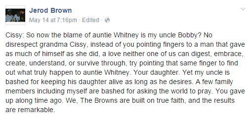 Jerod Brown's post on Facebook