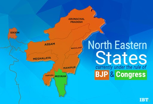 North eastern states of India currently under the rule of BJP and Congress