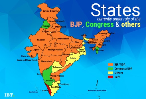 Indian states currently under the rule of BJP, Congress and others