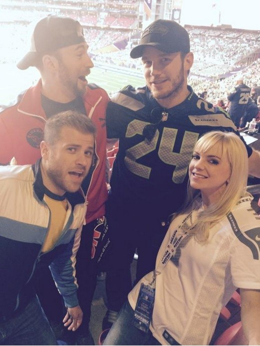 Chris Pratt and Anna Faris with Chris and Scot Evans at the Superbowl