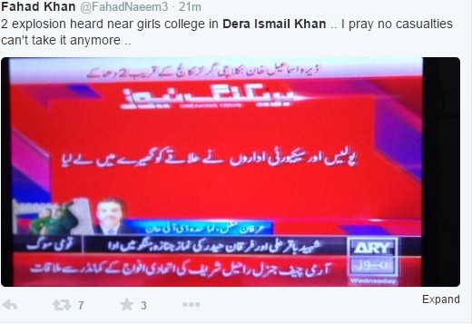 Pakistani TV reports claim twin blasts heard near a Girls School in Peshawar.