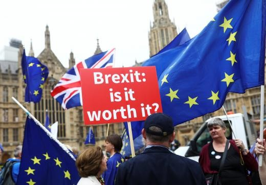 Anti-Brexit demonstrators protest opposite the Houses of Parliament in London, Britain, June 12, 2018