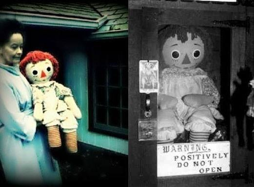 Annabelle the hauinted doll which currently resides in The Warrens Occult Museum