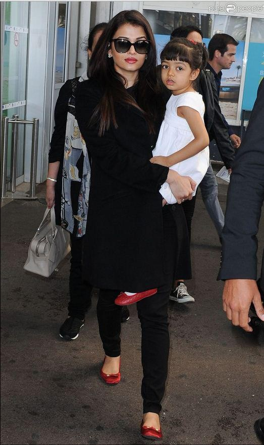 Aishwarya Rai Bachchan and Aaradhya arrive at Hotel Martinez for Cannes 2015