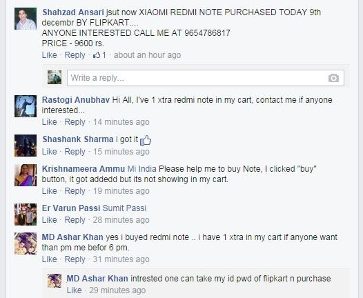 Miscreants seen re-selling Redmi Note at Xiaomi India facebook page