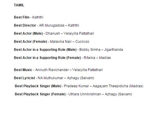 Filmfare Awards winners,Filmfare Awards South,Winners of 62nd Britannia Filmfare Awards South,Winners of Filmfare Awards,Filmfare Awards winners list,Filmfare Awards winners in tamil,Filmfare Awards winners in kannada,Filmfare Awards winners in telugu,Fil